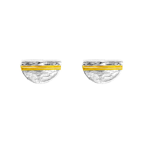 Inez Medium Stud Earrings | Polished Gold Detail