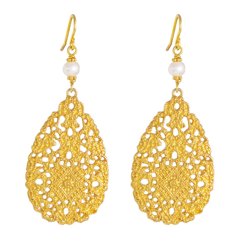 Ivanka Earrings | Gold With Pearl Detail