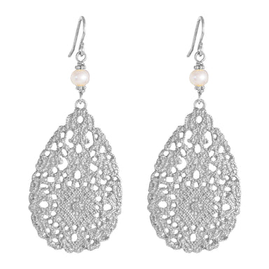 Ivanka Earrings | Silver With Pearl Detail