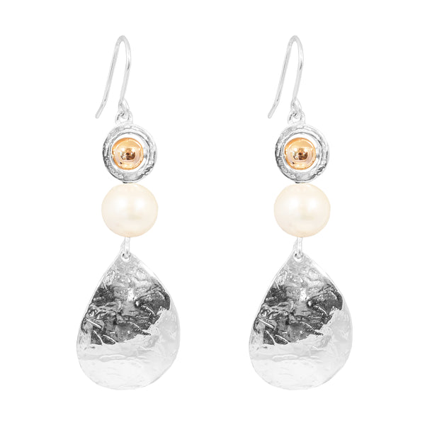 Juliana Teardrop Earrings | Polished Rose Detail And Pearl