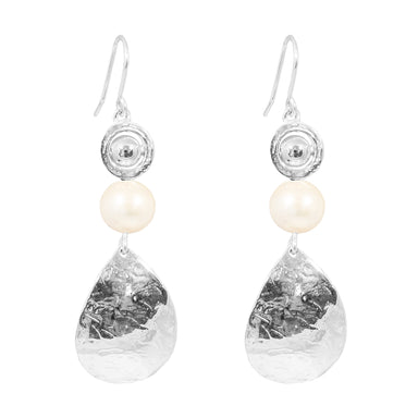 Juliana Teardrop Earrings | Polished Silver Detail And Pearl