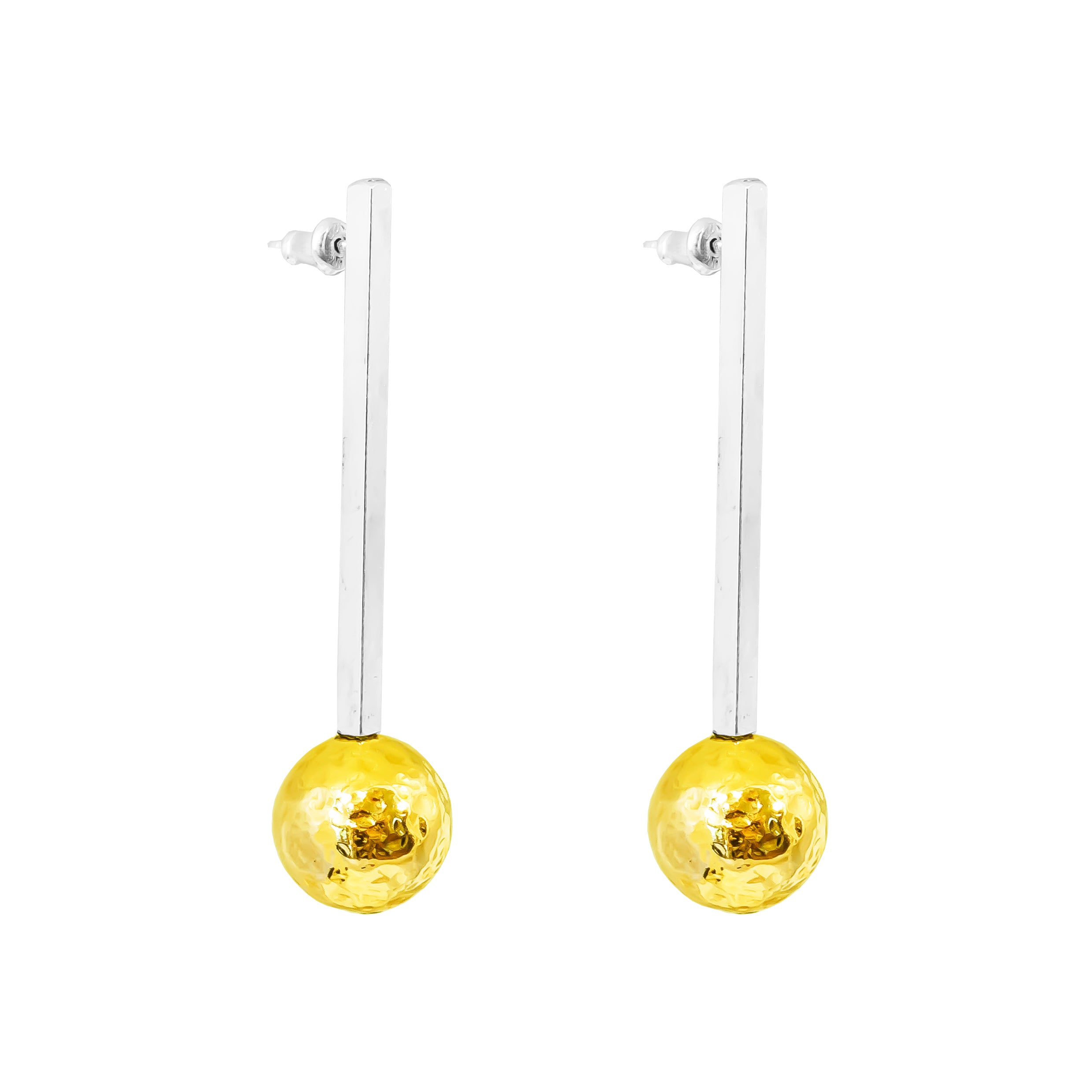 Kiera Earrings - Long | Polished Silver Bar With Hammered Gold Detail
