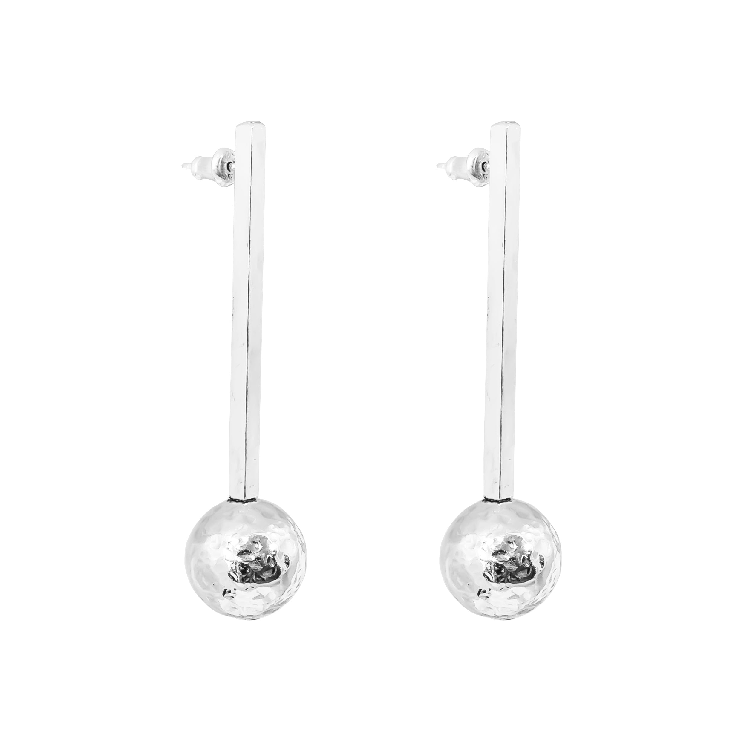Kiera Earrings - Long | Polished Silver Bar With Hammered Silver Detail