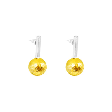 Kiera Earrings | Polished Silver Bar With Hammered Gold Detail
