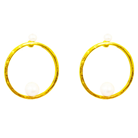 Layla Earrings | Gold With Pearl Detail