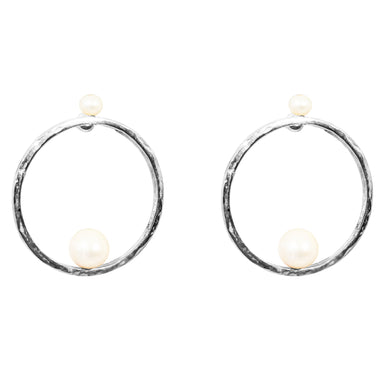 Layla Earrings | Silver With Pearl Detail