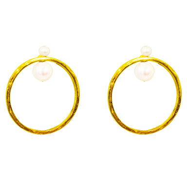 Luciana Earrings | Gold With Pearl Detail