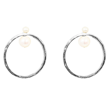 Luciana Earrings | Silver With Pearl Detail
