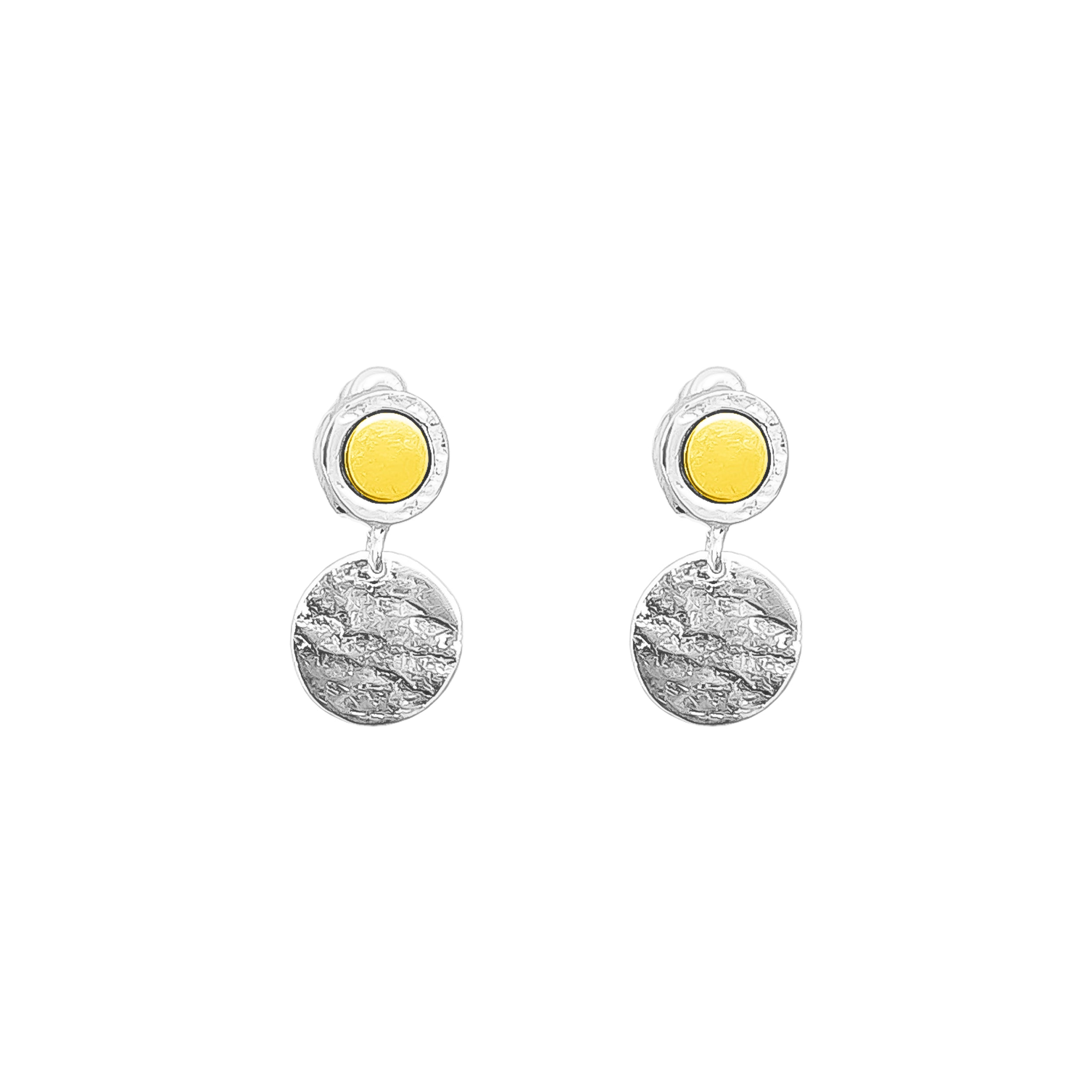 Mercury Disc Earrings | Polished Gold Detail