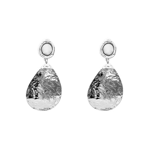 Mercury Domed Teardrop Earrings | Polished Silver Detail