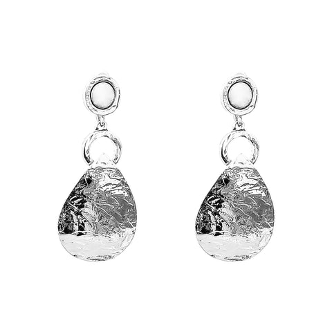 Mercury Long Domed Teardrop Earrings | Polished Silver Detail