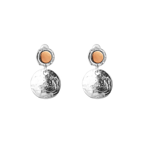 Mercury Medium Domed Disc Earrings | Polished Rose Detail