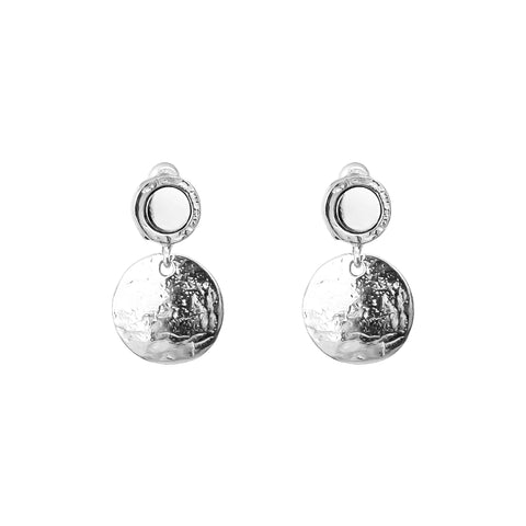 Mercury Medium Domed Disc Earrings | Polished Silver Detail