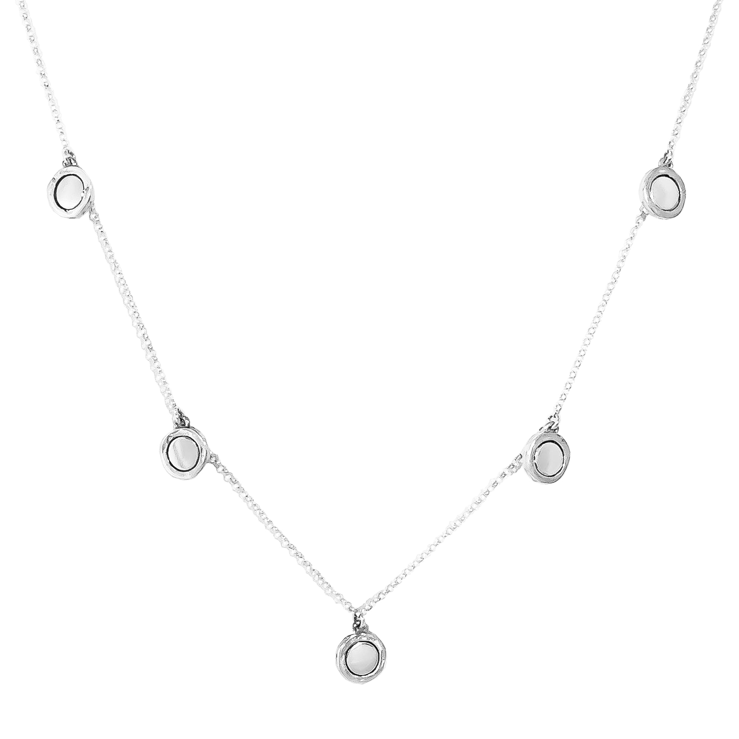 Mercury Multi Disc Necklace | Polished Silver Detail