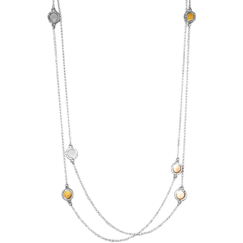 Mercury Multi Feature Necklace - Long | Polished Gold, Rose And Silver Detail