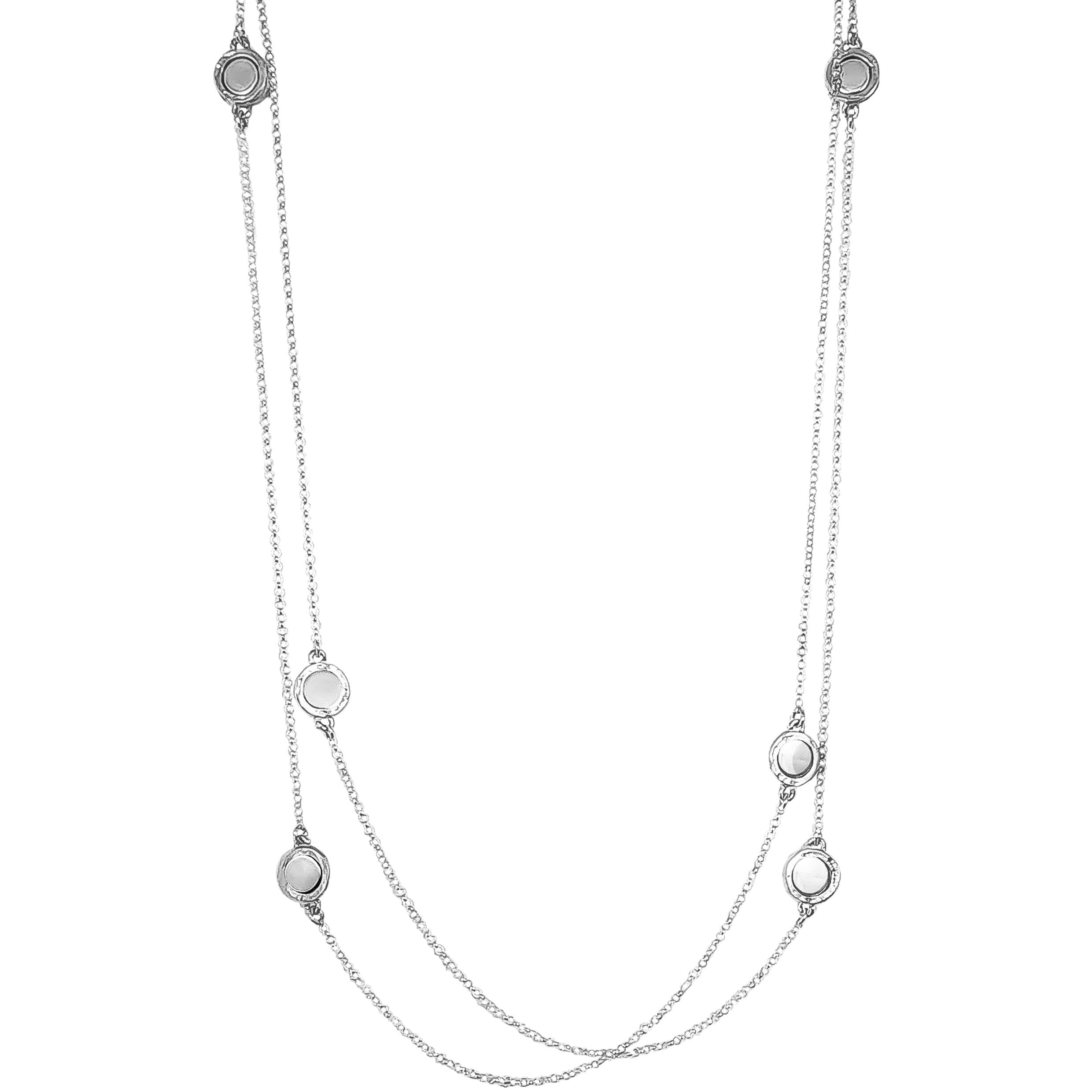 Mercury Multi Feature Necklace - Long | Polished Silver Detail