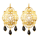 Mila Earrings | Gold With White Jade And Faceted Black Onyx Detail