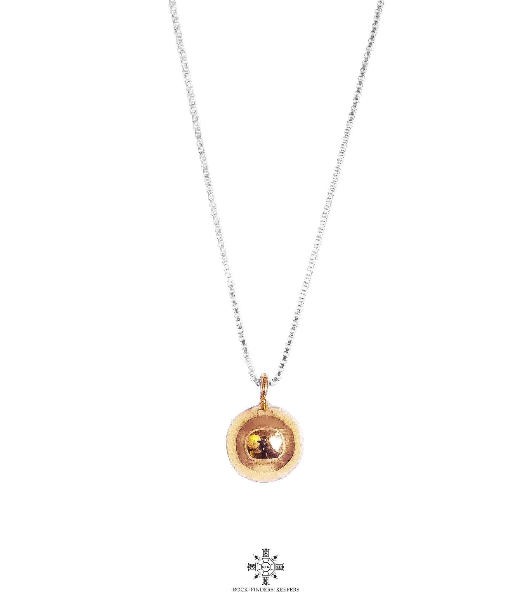 Paris Large Chime Ball Necklace - Long | Polished Rose Detail
