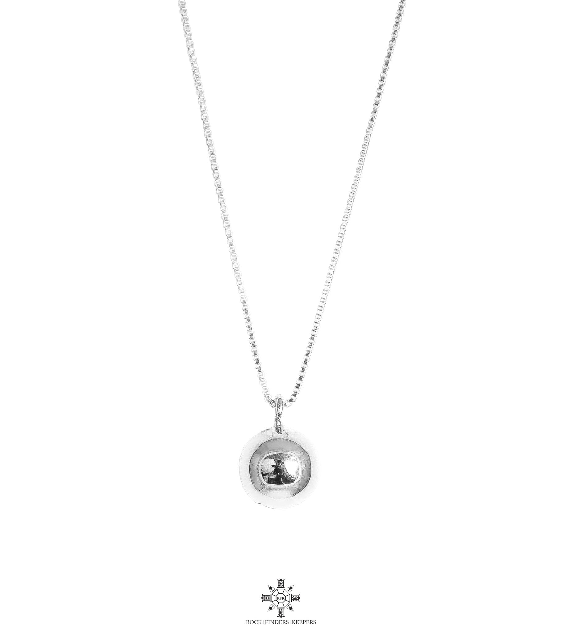Paris Large Chime Ball Necklace - Long | Polished Silver Detail