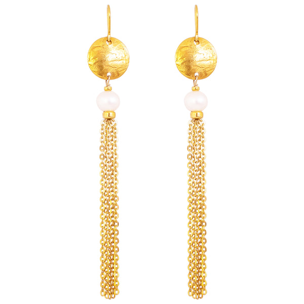 Paige Tassel Earrings | Gold With Pearl Detail