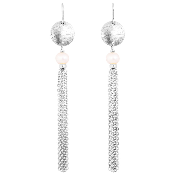 Paige Tassel Earrings | Silver With Pearl Detail