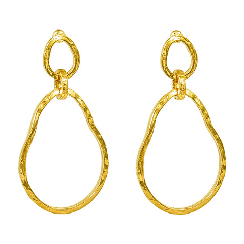 Paradis Large Double Link Earrings | Gold