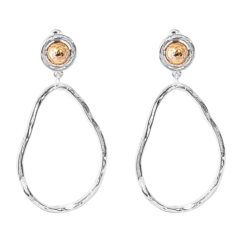Paradis Large Drop Earrings | Hammered Rose Detail