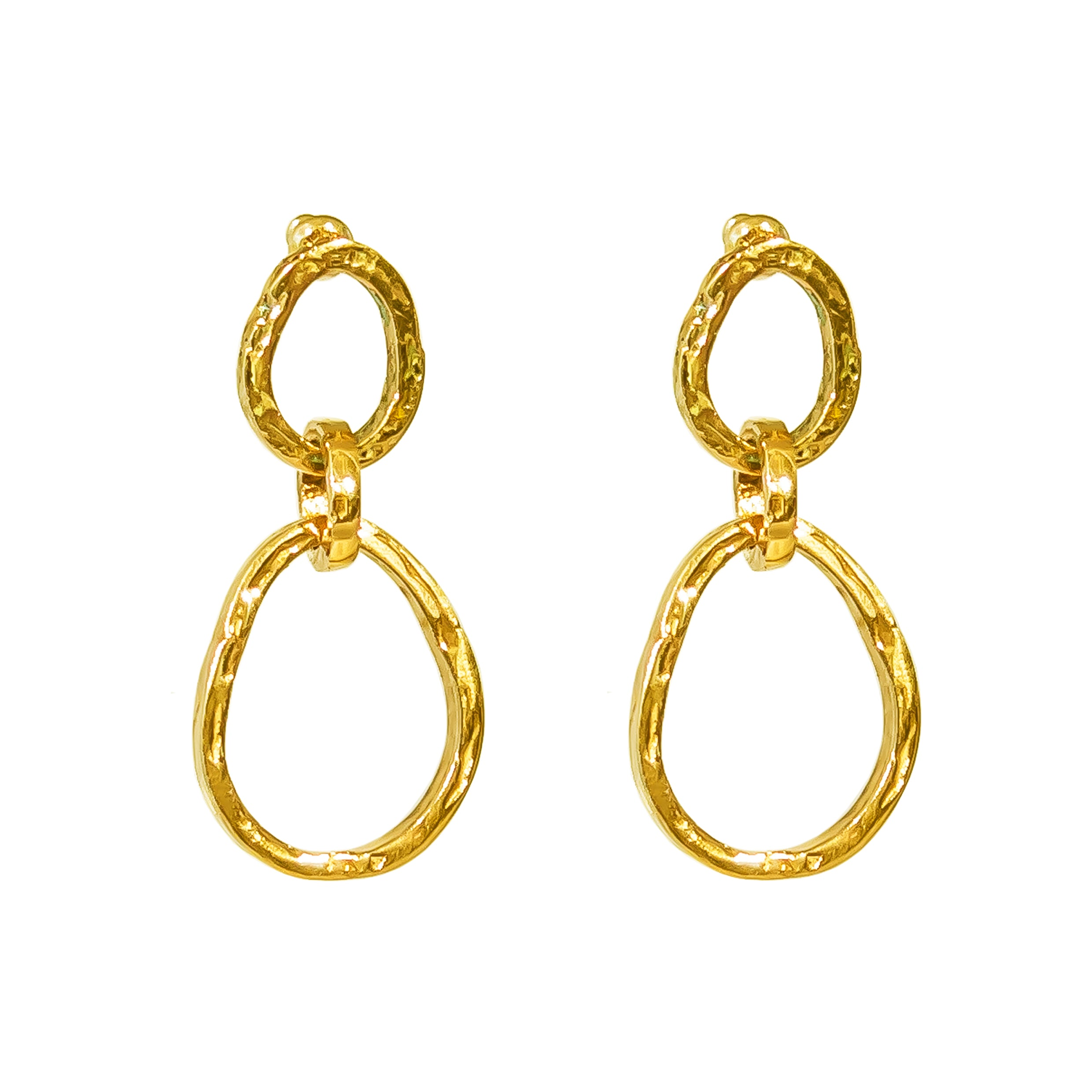 Paradis Medium Double Link Earrings | Gold