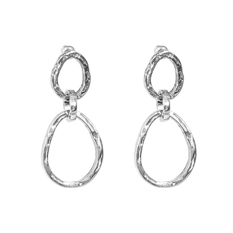 Paradis Medium Double Link Earrings | Silver