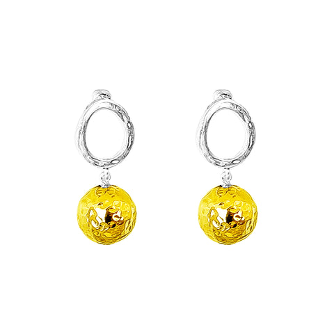 Paradis Stud Earrings | Large Hammered Gold Detail