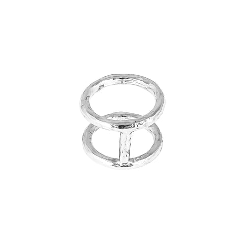 Petra Double Hammered Ring | Silver