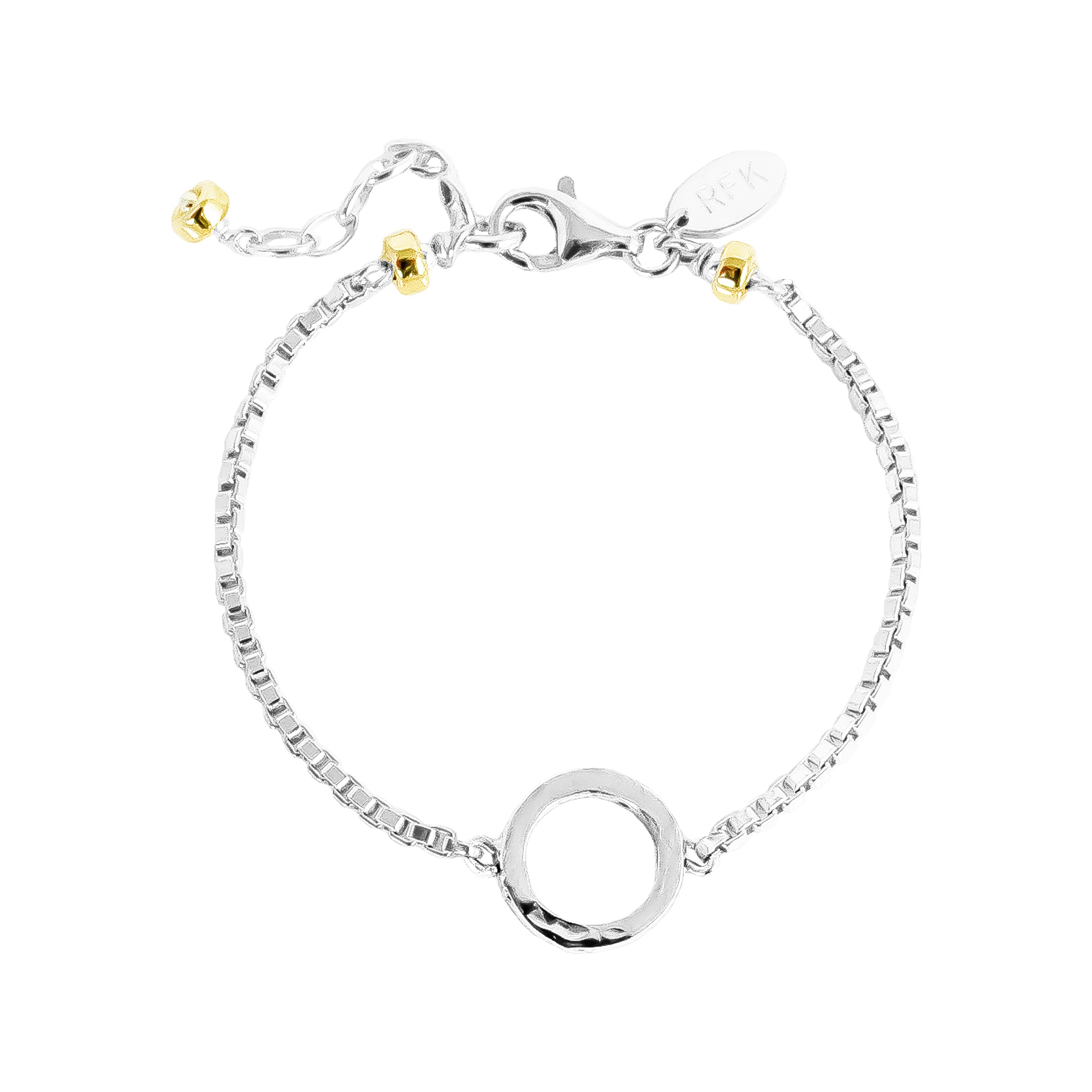 Phoenix Box Chain Bracelet | Silver Ring And Gold Detail