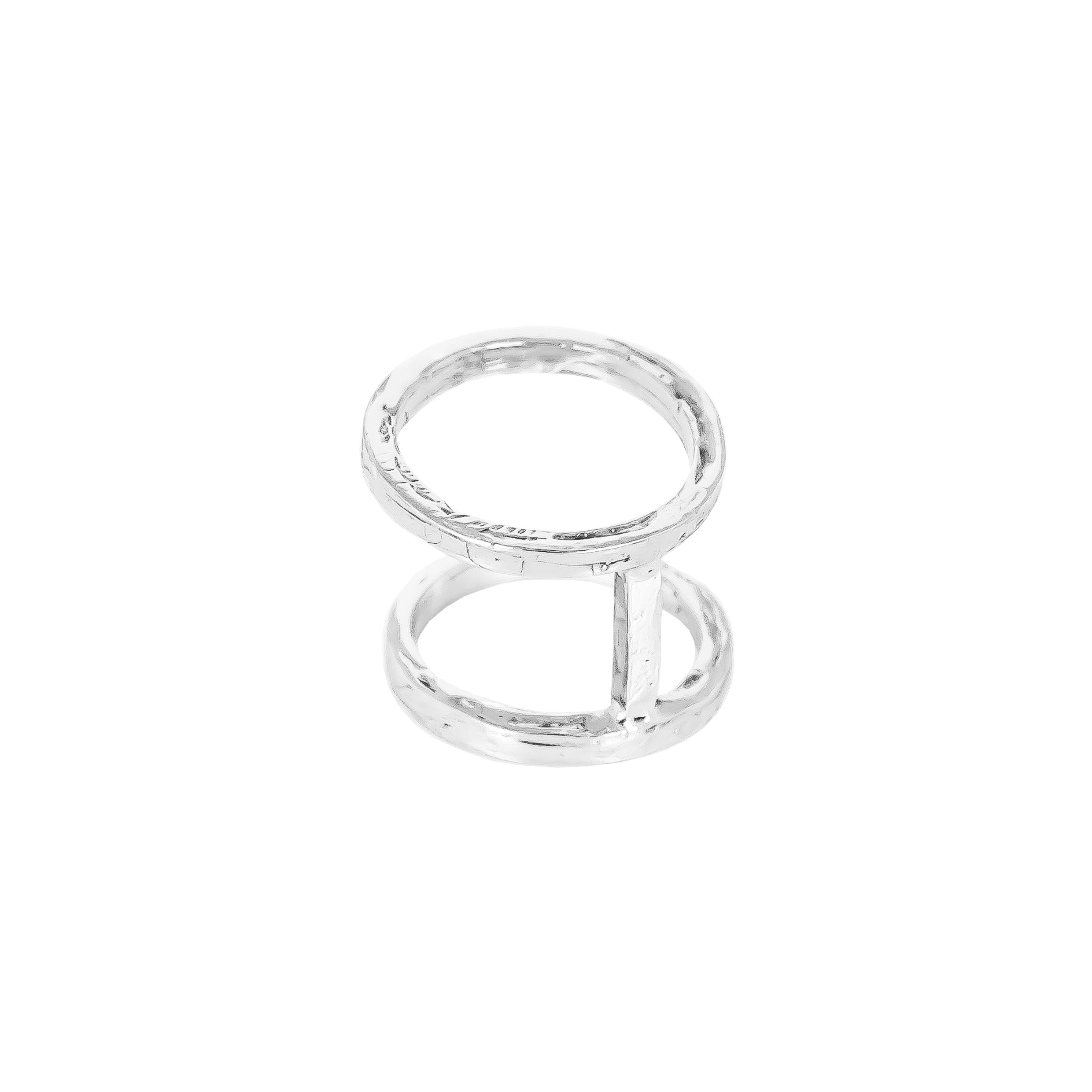 Phoenix Double Hammered Ring | Silver