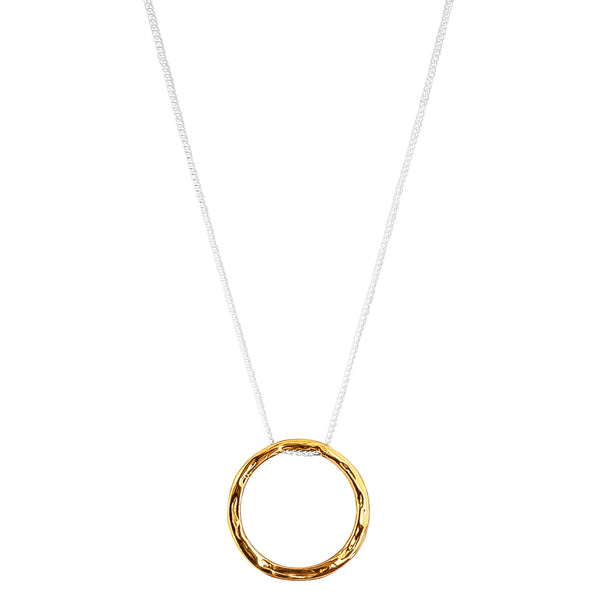 Phoenix Large Hammered Ring Necklace | Gold