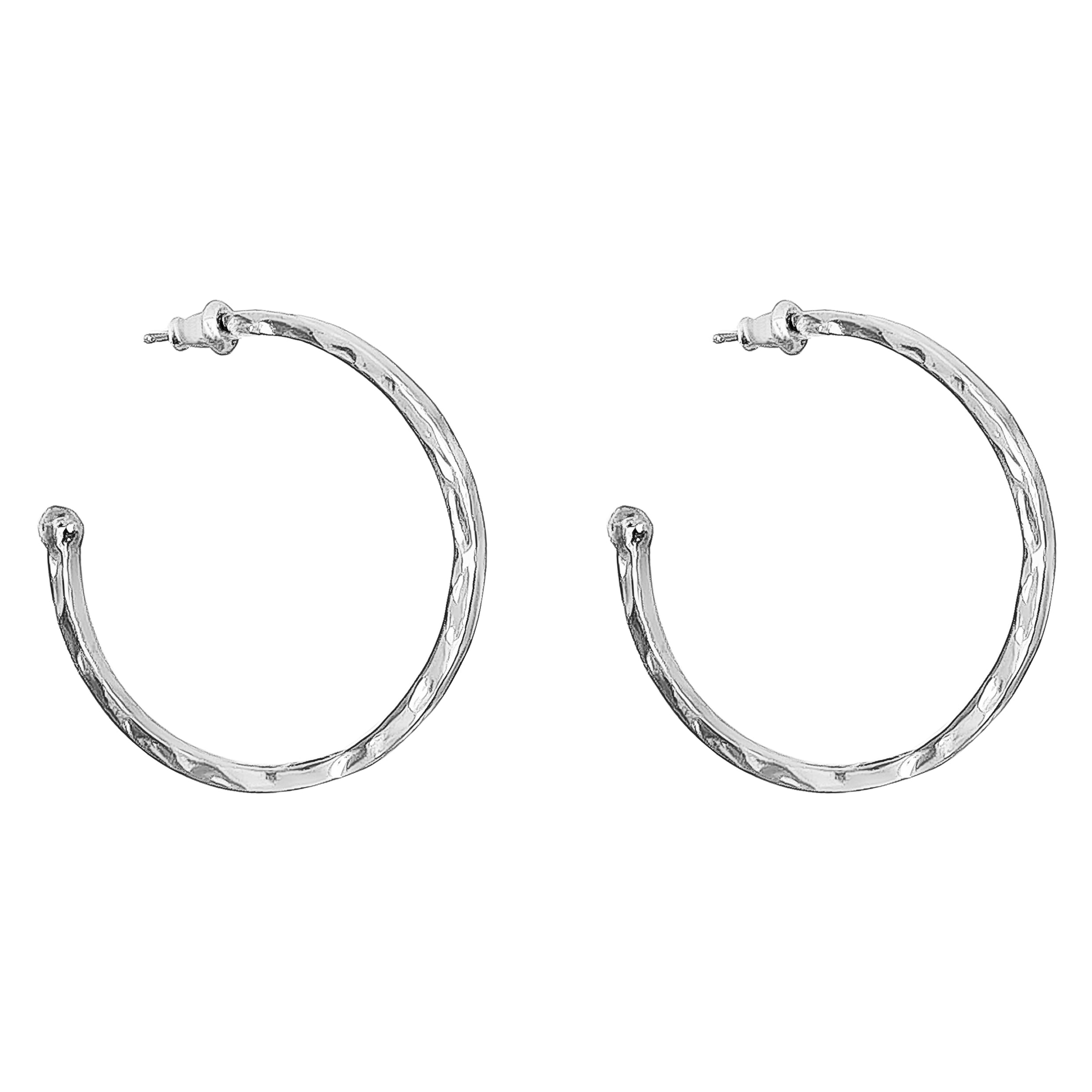 Phoenix Large Hoop Earrings | Silver