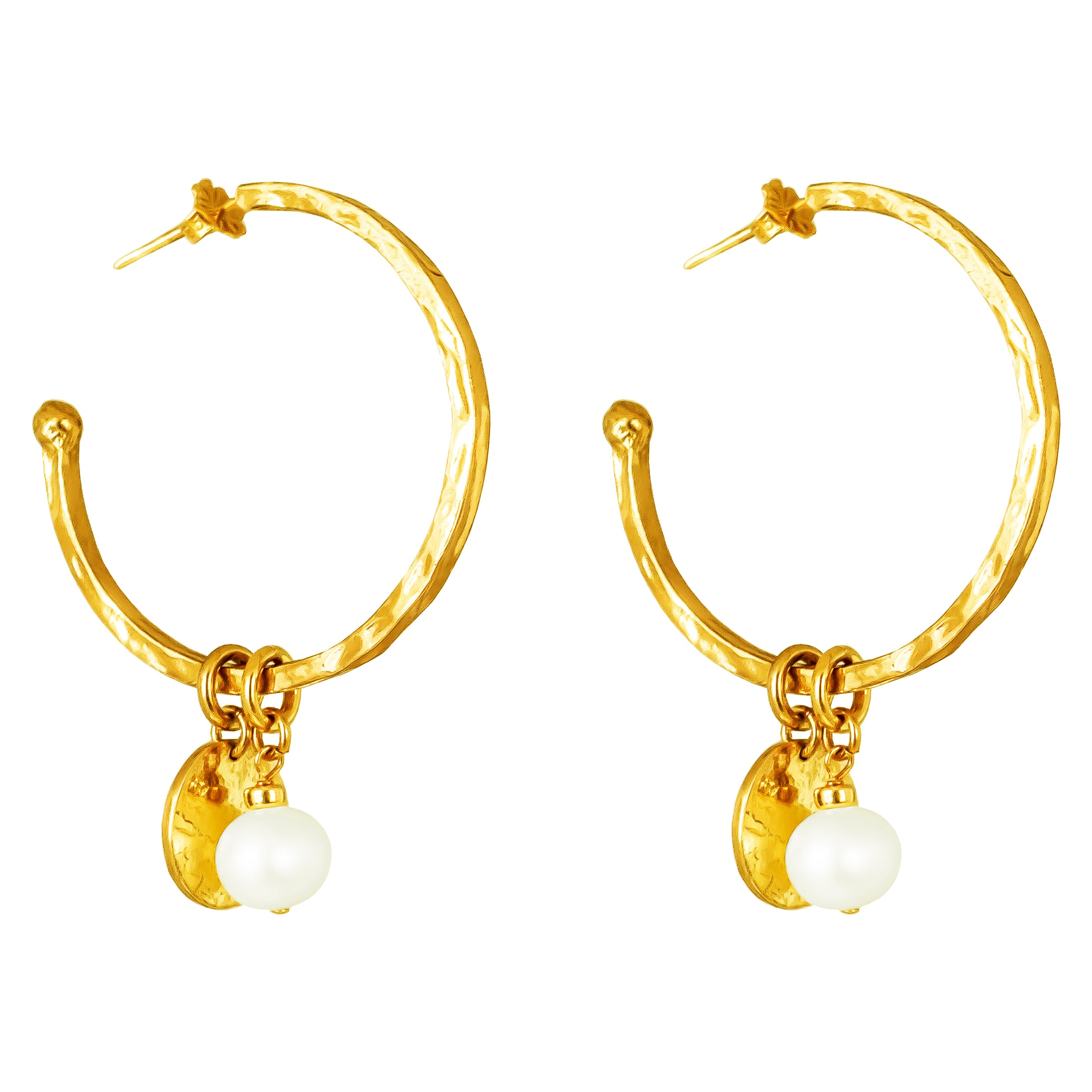 Phoenix Large Hoop Earrings With Disc And Pearl | Gold