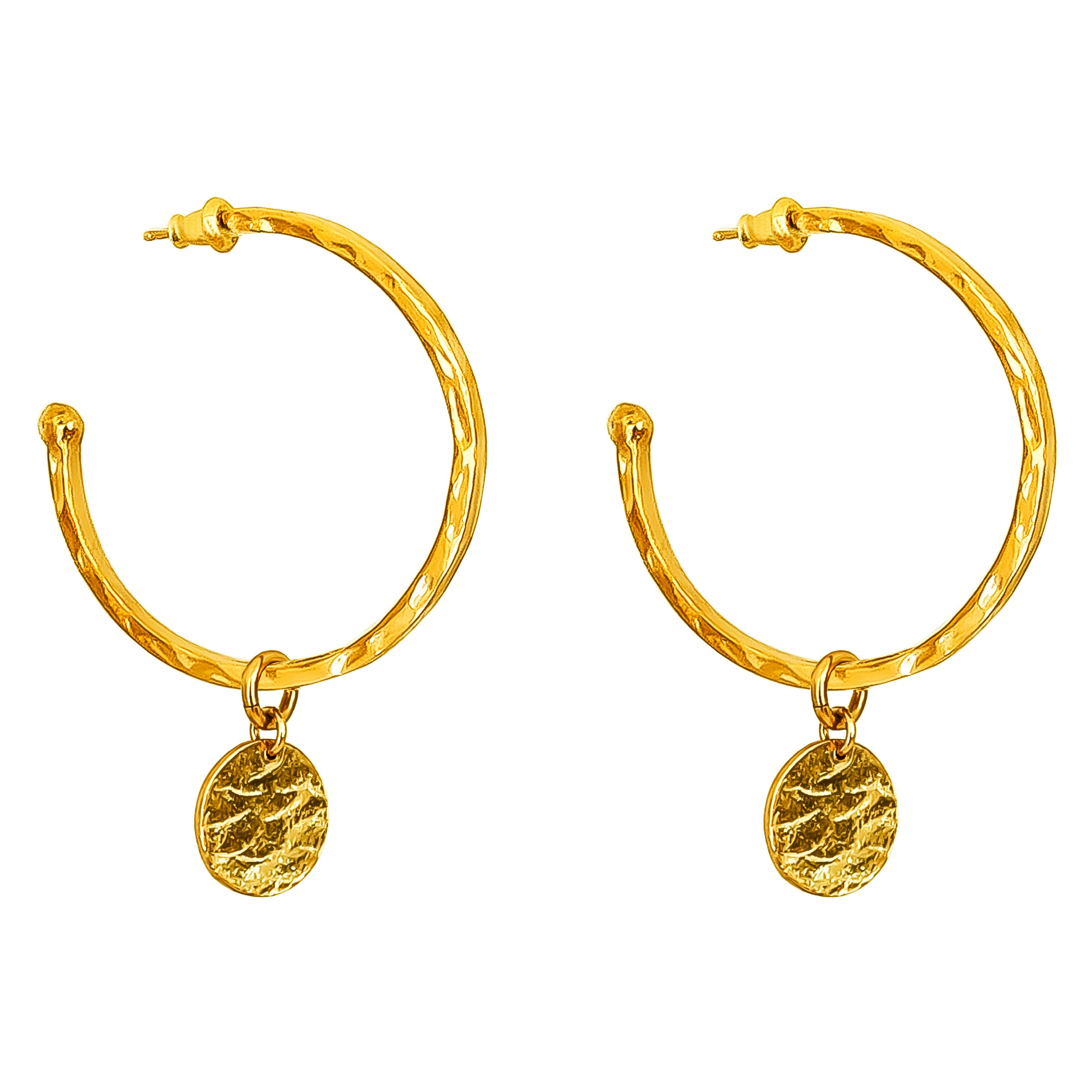 Phoenix Large Hoop Earrings With Disc | Gold