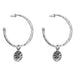 Phoenix Large Hoop Earrings With Disc | Silver