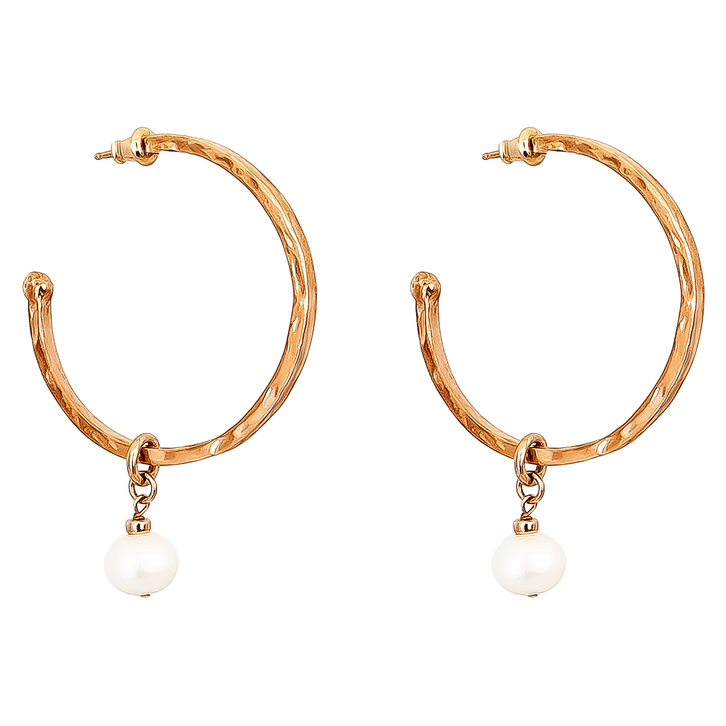 Phoenix Large Hoop Earrings With Pearl | Rose