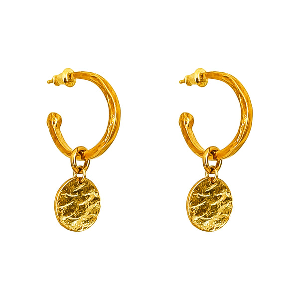 Phoenix Medium Hoop Earrings With Disc | Gold