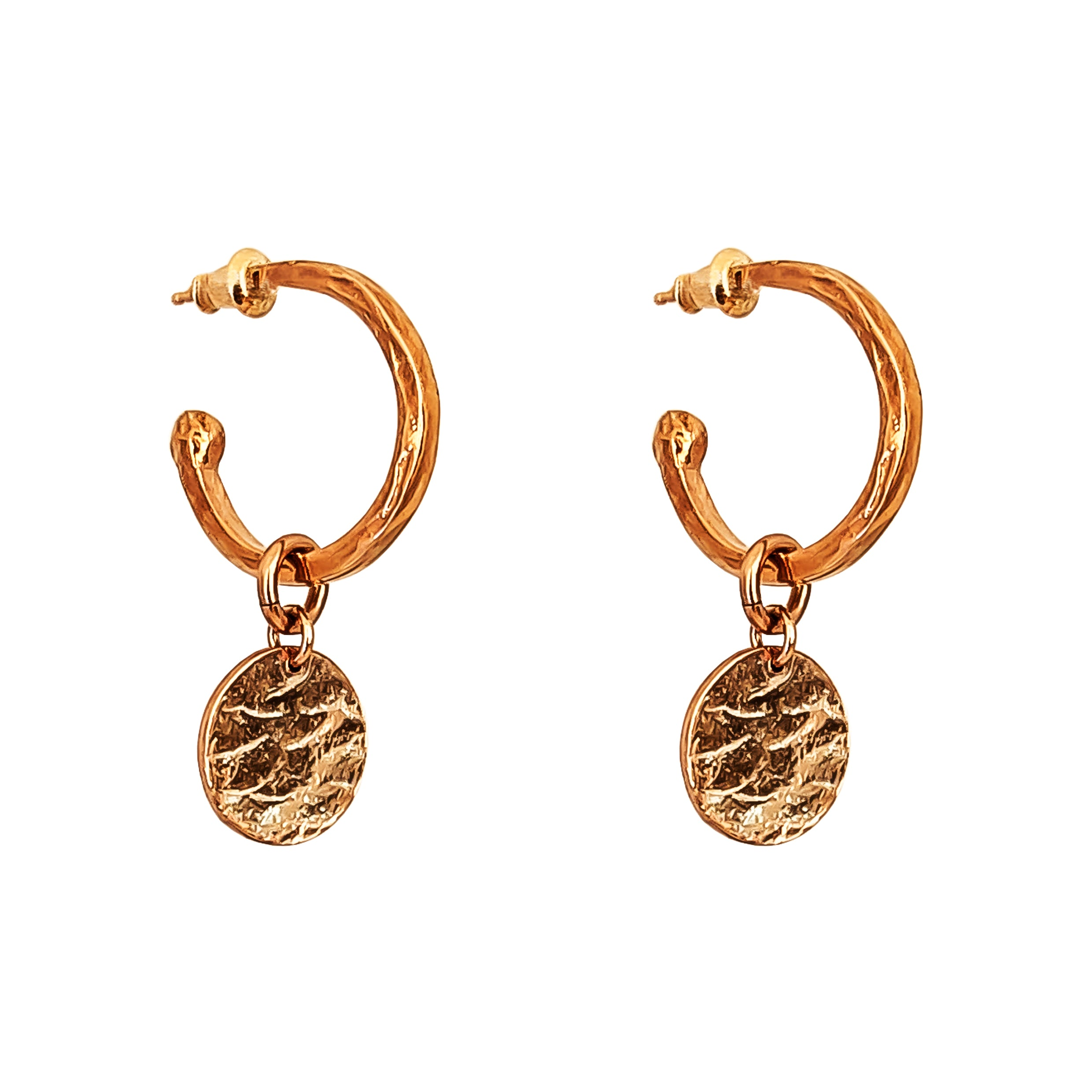 Phoenix Medium Hoop Earrings With Disc | Rose