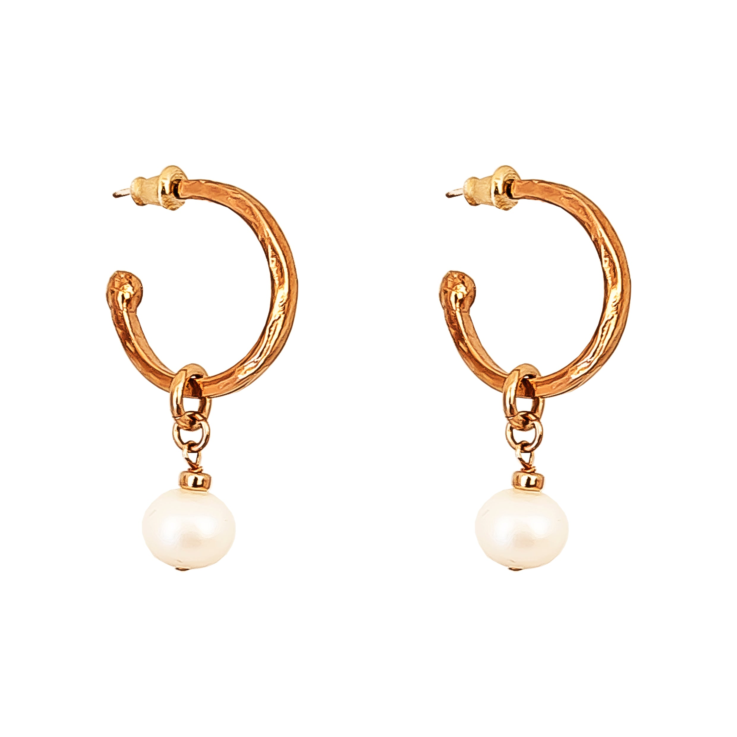 Phoenix Medium Hoop Earrings With Pearl | Rose