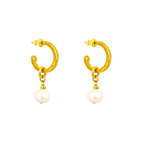 Phoenix Small Hoop Earrings With Pearl | Gold