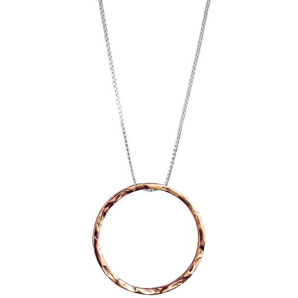 Phoenix X-Large Hammered Ring Necklace - Long | Rose
