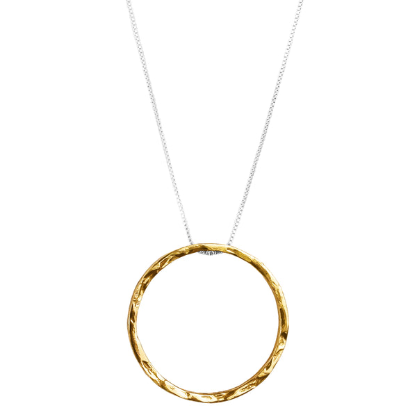 Phoenix X-Large Hammered Ring Necklace | Gold
