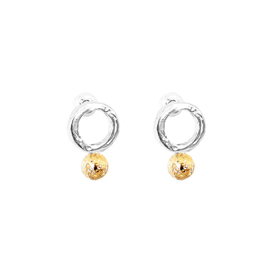 Radison Fine Feature Stud Earrings | Hammered Rose Detail