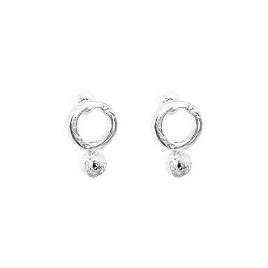Radison Fine Feature Stud Earrings | Hammered Silver Detail