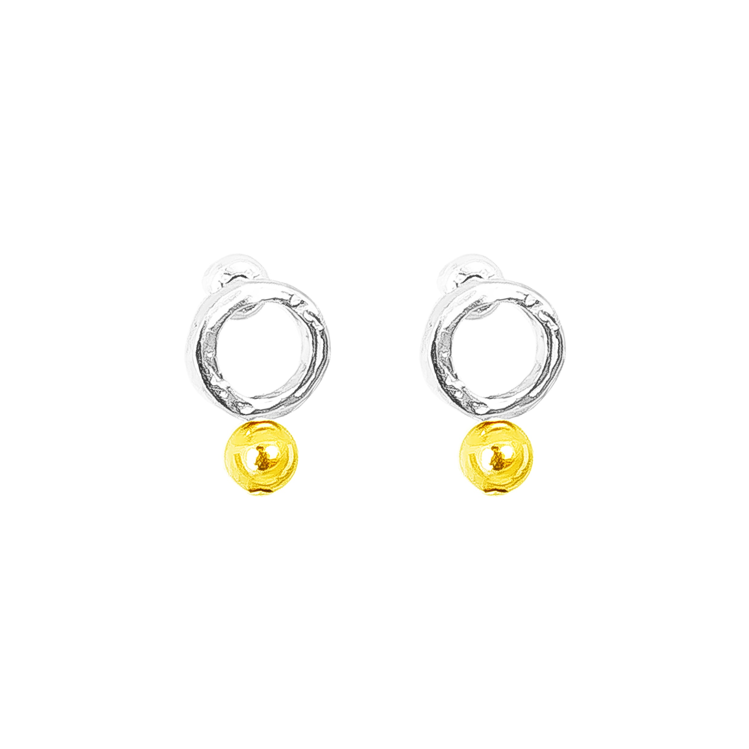 Radison Fine Feature Stud Earrings | Polished Gold Detail