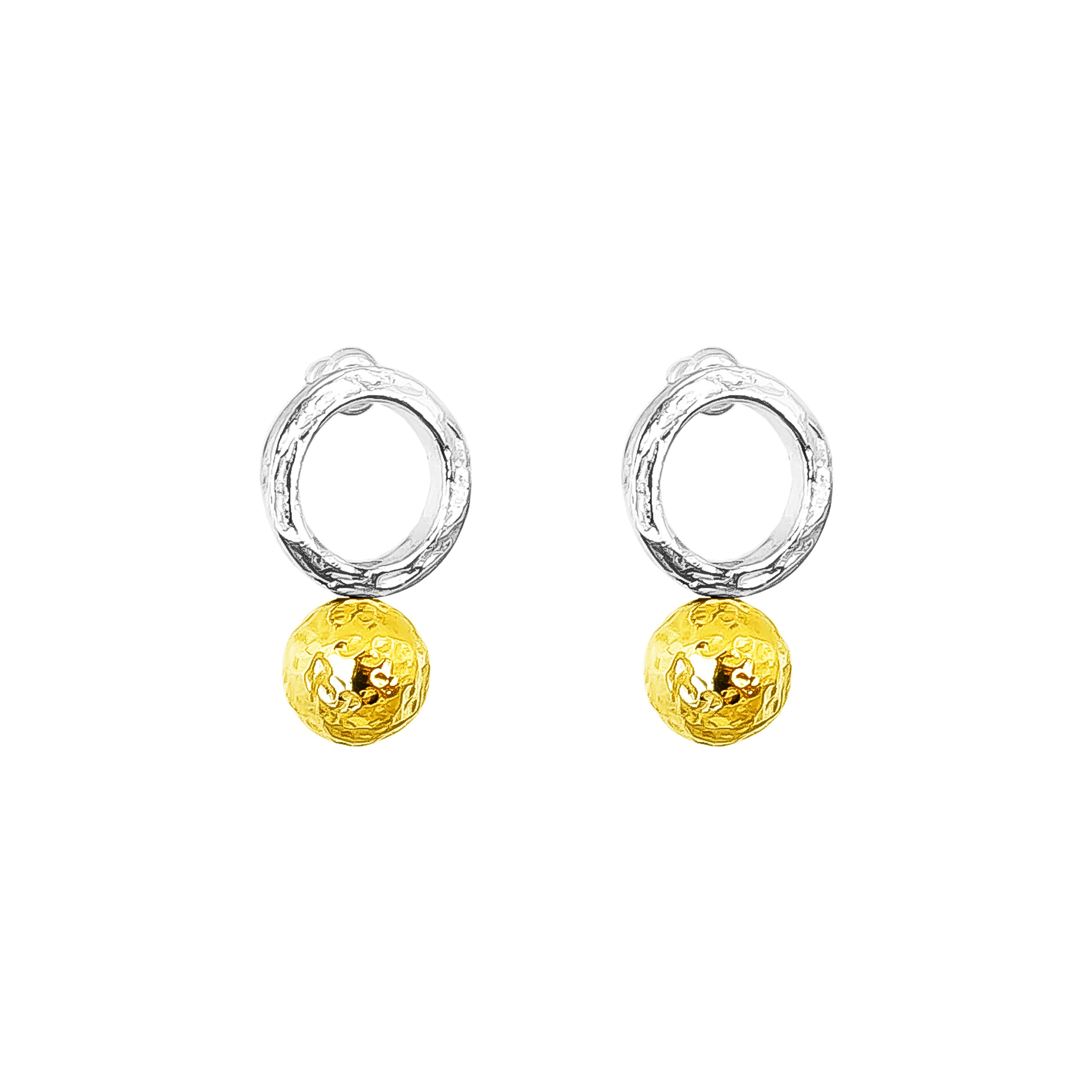 Radison Large Feature Stud Earrings | Hammered Gold Detail