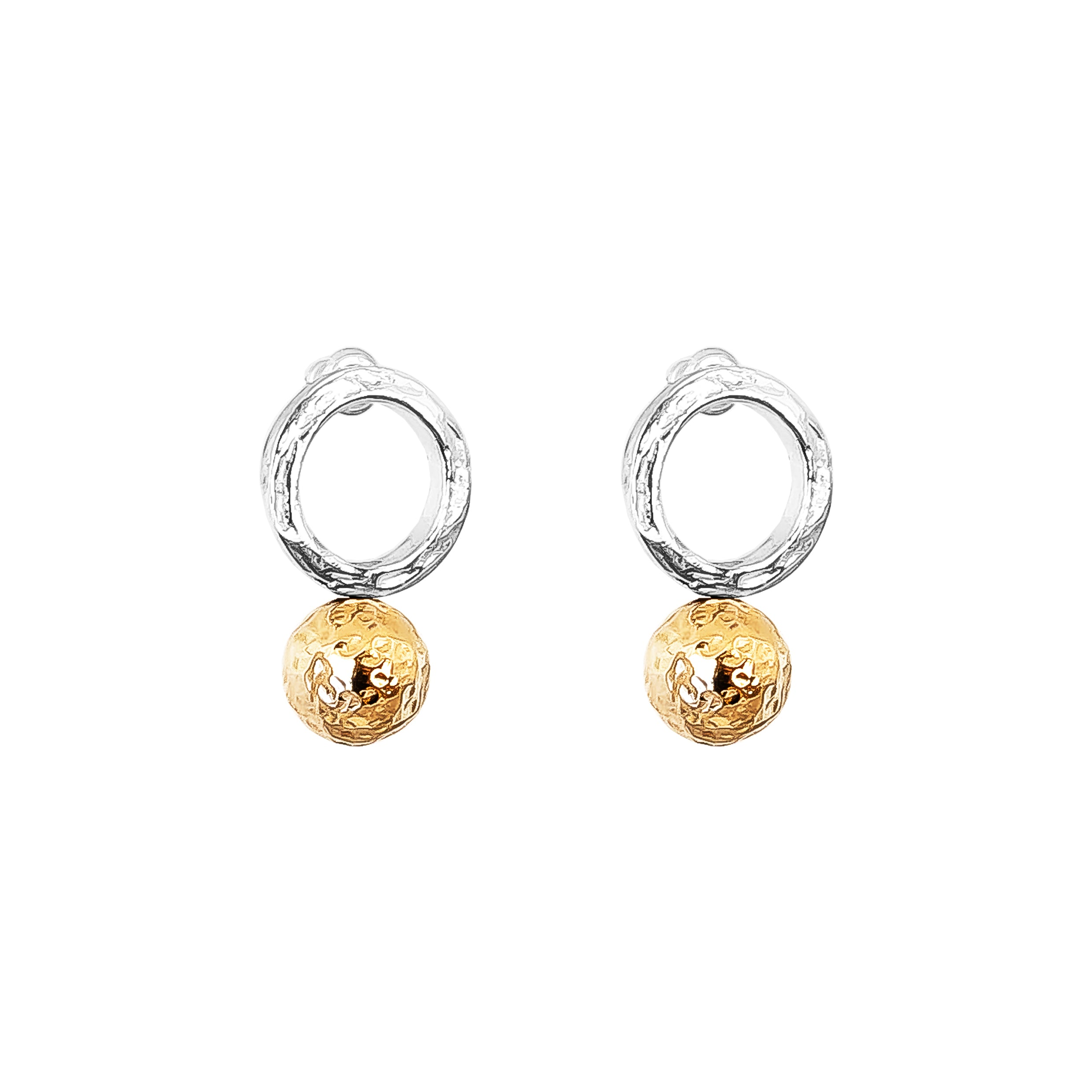 Radison Large Feature Stud Earrings | Hammered Rose Detail